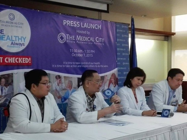 "Medical experts of The Medical City, led by Dr. Alfredo Bengzon (TMC President & CEO, second from left) talk to the media for the launch of the ""Be Healthy Always"" Movement"